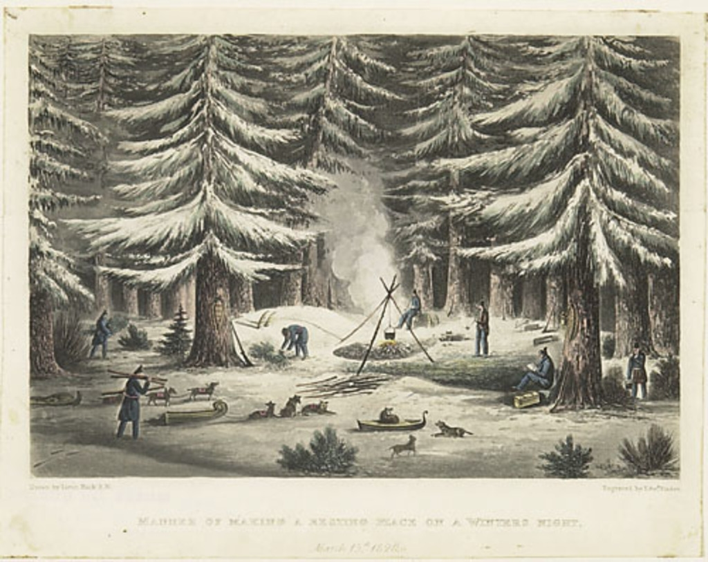 Façon de faire un campement durant une nuit d'hiver, 15 mars 1820, extrait de l'ouvrage Narrative of a Journey to the Shores of the Polar Sea de John Franklin