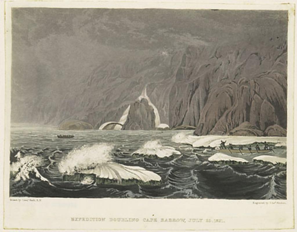 L'Expédition doublant le cap Barrow, 25 juillet 1821, extrait de l'ouvrage Narrative of a Journey to the Shores of the Polar Sea de John Franklin