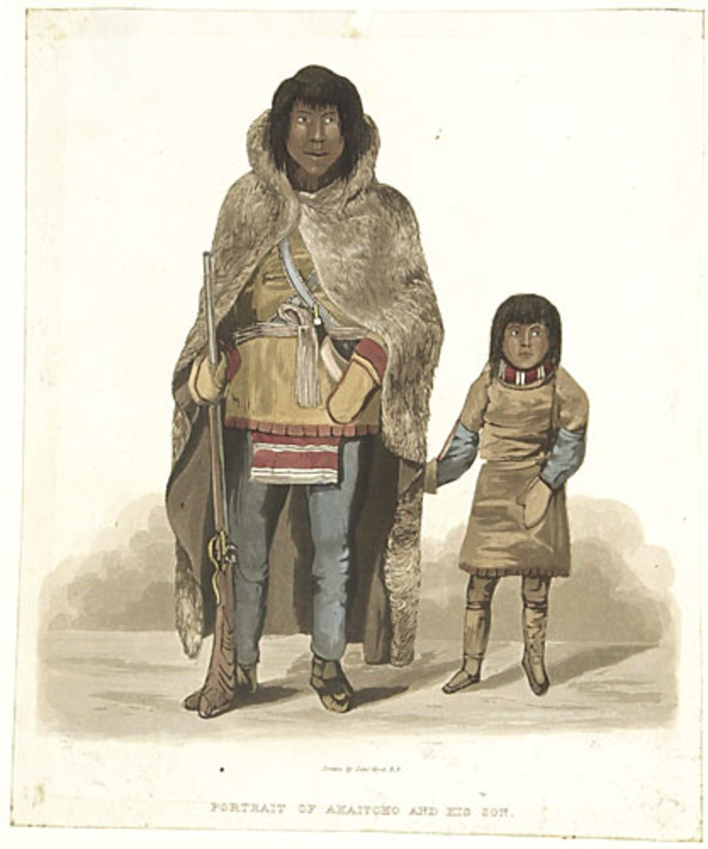 Akeitcho et son fils, extrait de l'ouvrage Narrative of a Journey to the Shores of the Polar Sea de John Franklin