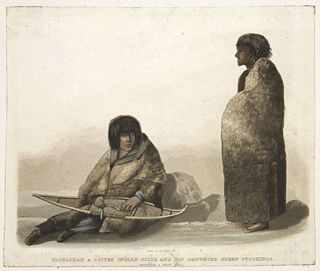 Keskarrah, un guide indien copper, et sa fille Green Stockings racommodant une raquette, extrait de l'ouvrage Narrative of a Journey to the Shores of the Polar Sea de John Franklin