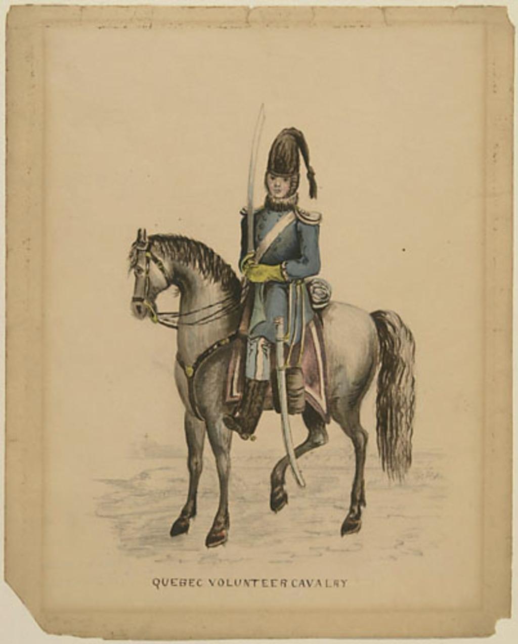 La Cavalerie des Volontaires de Québec. Copie de la gravure publiée dans l'ouvrage The Quebec Volunteers