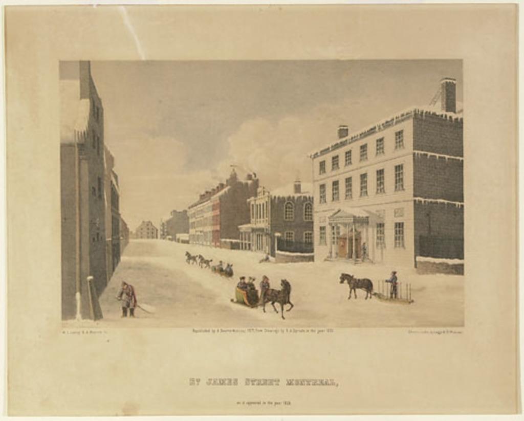 La Rue Saint-Jacques à Montréal, telle qu'elle apparaissait en l'année 1830