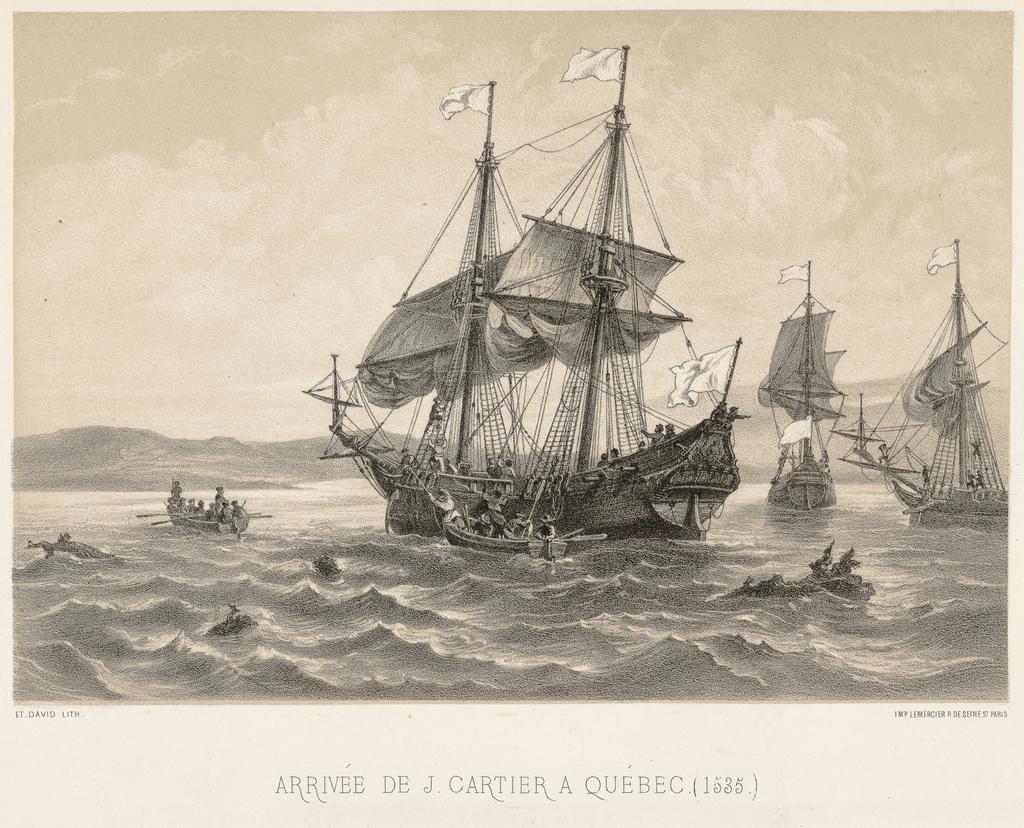 Arrivée de Jacques Cartier à Québec, 1535, de l'album Canada. Dessins historiques