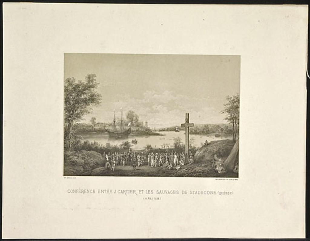 Conférence entre Jacques Cartier et les sauvages de Stadaconé, Québec, 6 mai 1536, de l'album Canada. Dessins historiques