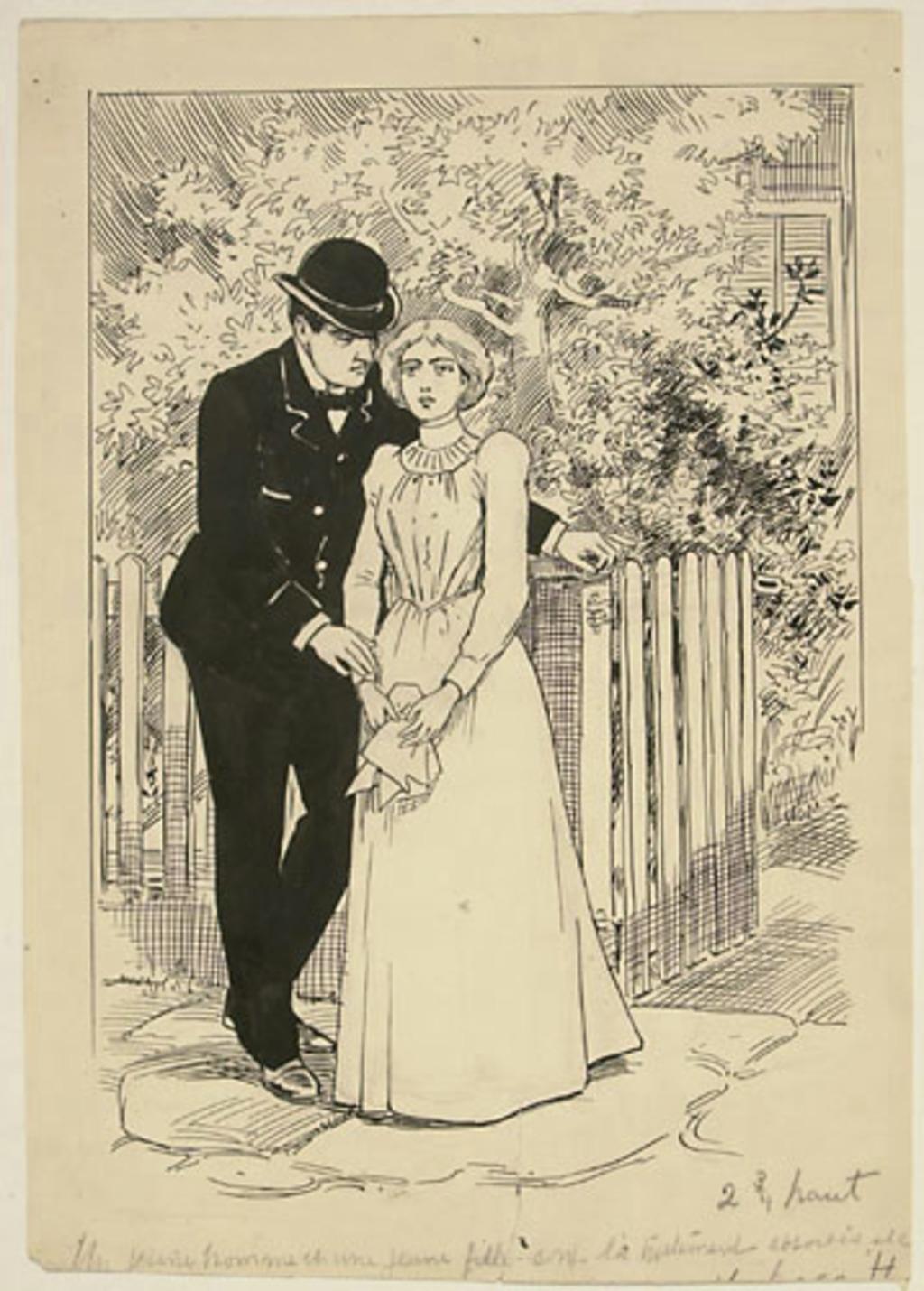 Un jeune homme et une jeune fille sont là tristement absorbés, « etc »