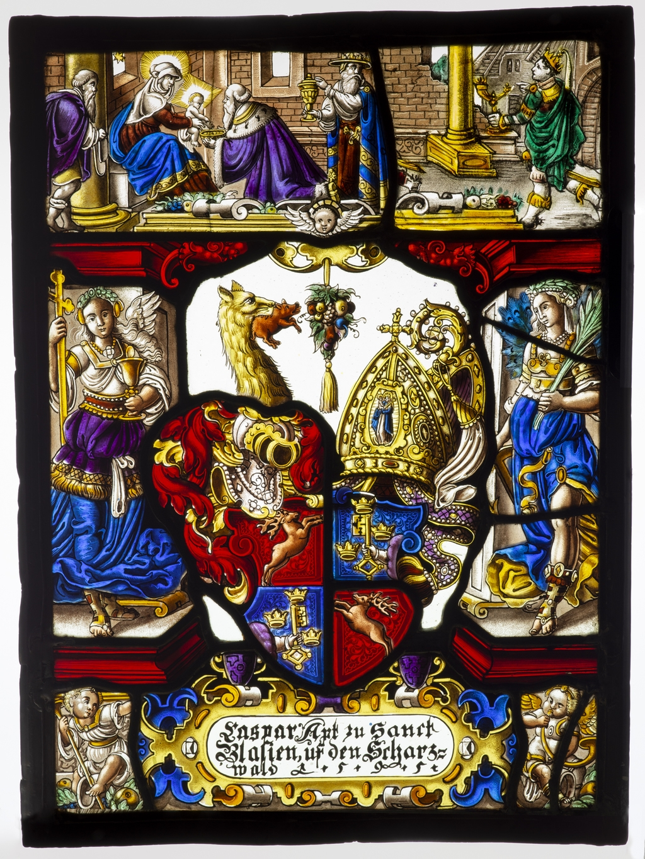 « L'Adoration des Mages » et écusson
