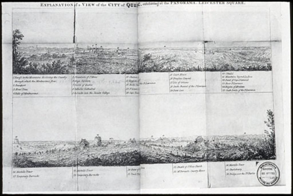 Explication d'une vue de la ville de Québec, du livre illustré Description of a View of the City of Québec