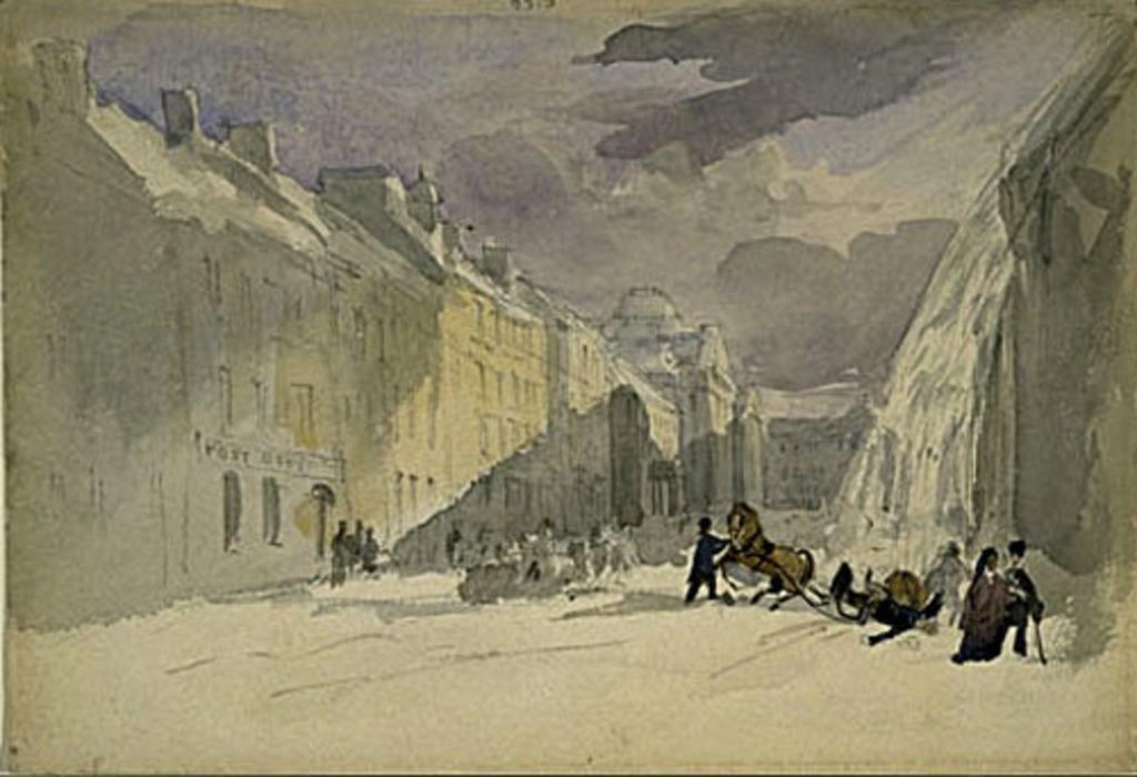 Avalanche de neige, rue Saint-Jacques, Montréal