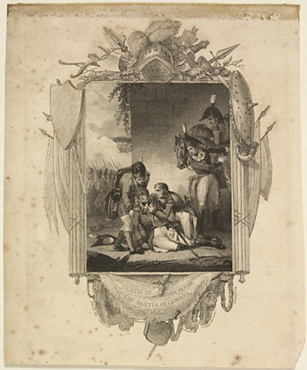 Mort de sir John Moore à la bataille de Corunna, extrait de l'ouvrage Histoire de l'Angleterre de Theophilus Camden