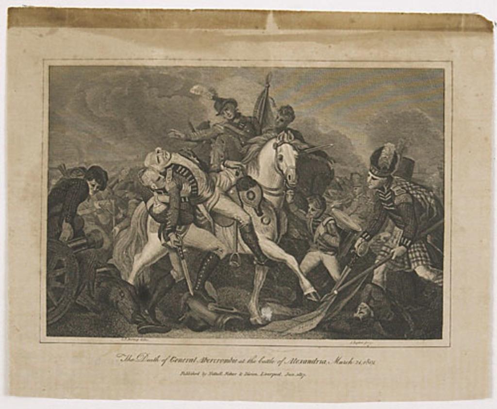 Mort du général Abercromby à la bataille d'Alexandrie, 21 mars 1801, extrait de l'ouvrage Histoire de l'Angleterre de Theophilus Camden