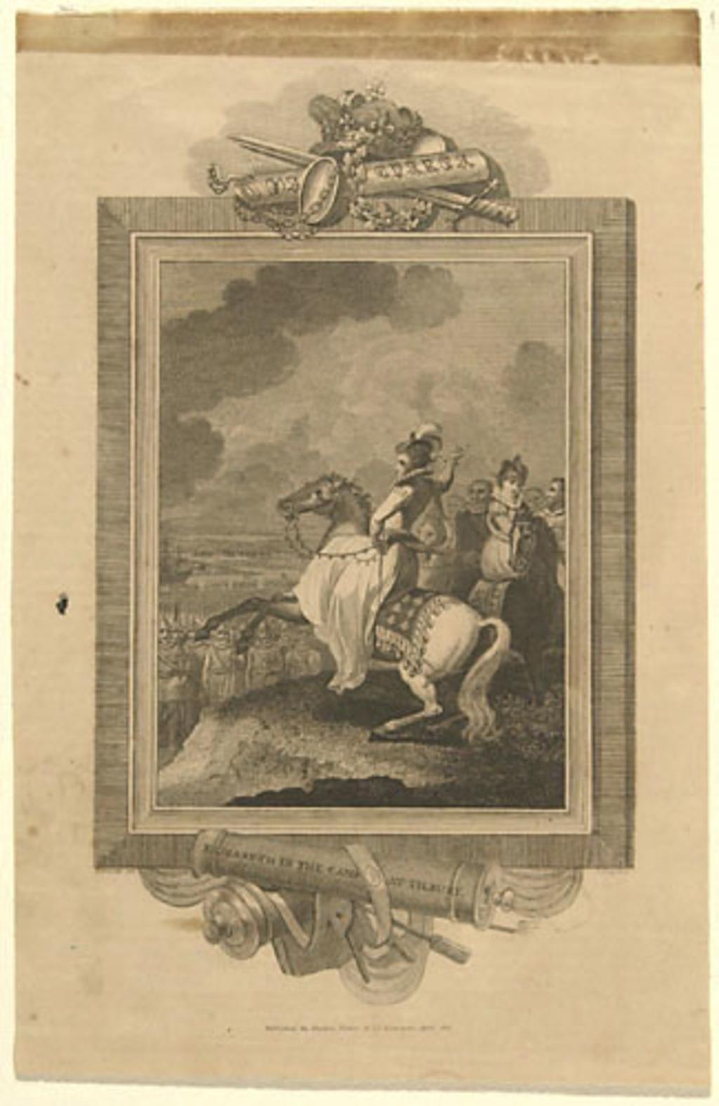 Élisabeth au camp de Tilbury, extrait de l'ouvrage Histoire de l'Angleterre de Theophilus Camden