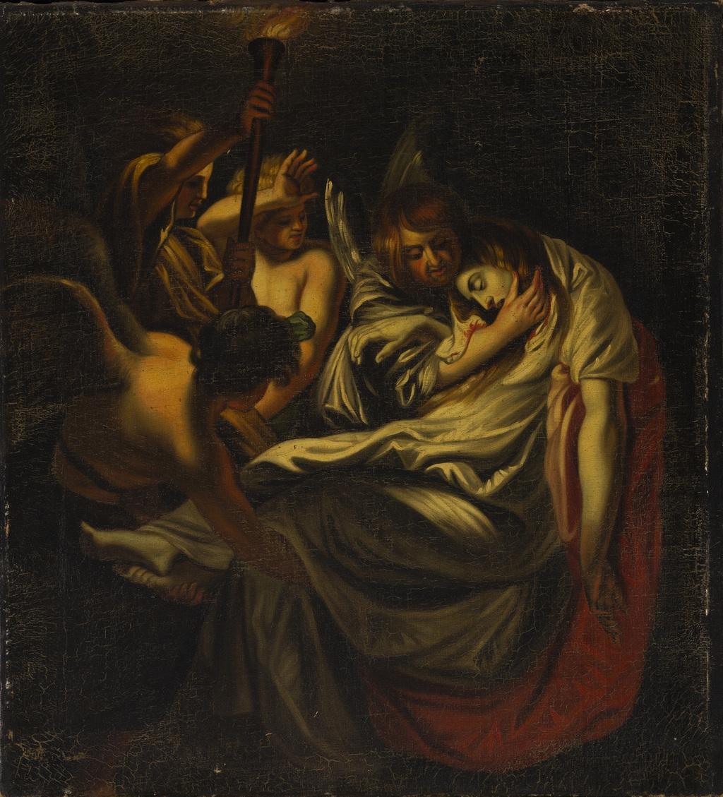 Le Corps de sainte Cécile apporté dans les catacombes par les anges