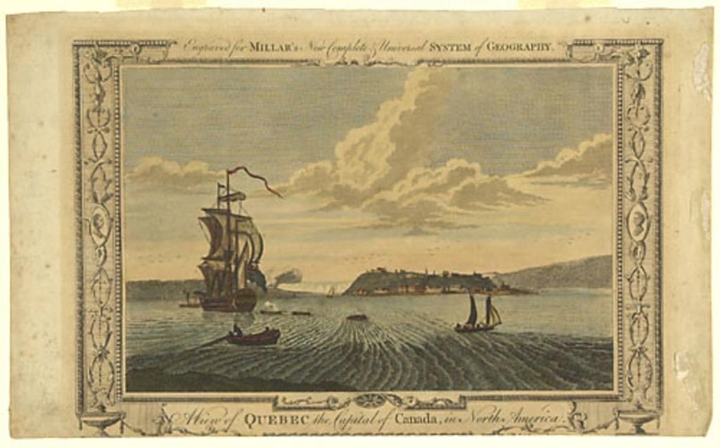 Vue de Québec, capitale du Canada en Amérique du Nord, extrait du Millar's New Complete Universal System of Geography