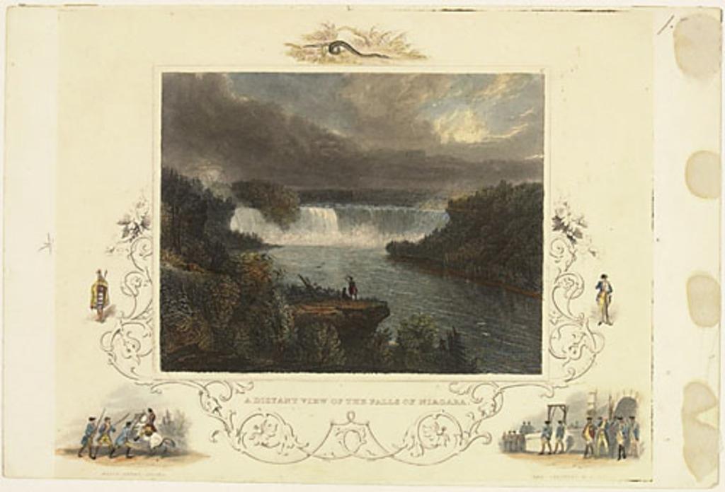 Une vue des chutes Niagara au loin