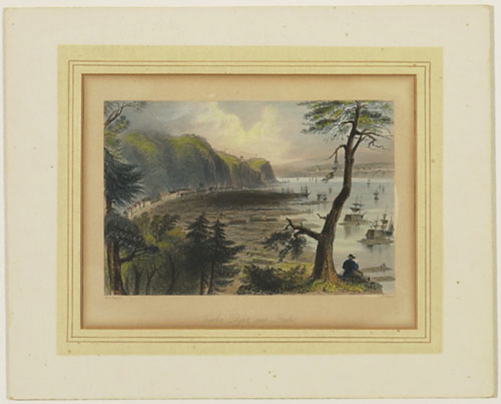 Dépôt de bois de construction près de Québec, extrait du Canadian Scenery Illustrated, vol. II