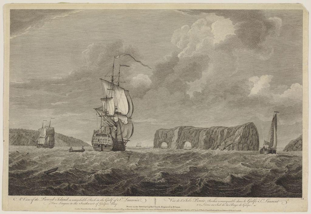 Vue de l'île Percée, rocher remarquable dans le golfe Saint-Laurent, à deux lieues au sud de la baie de Gaspé