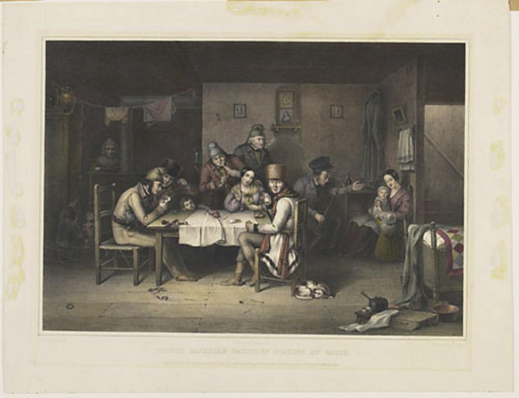 Habitants canadiens-français jouant aux cartes
