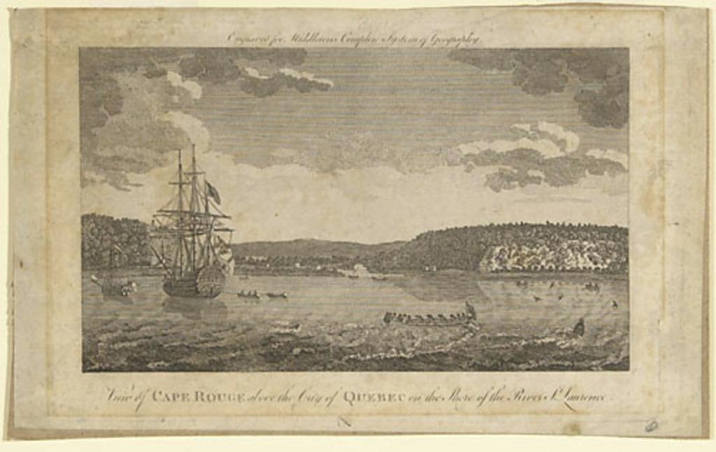 Vue de Cap-Rouge en haut de la ville de Québec sur le littoral du fleuve Saint-Laurent, extrait de l'ouvrage A New and Complete System of Geography de Charles Theodore Middleton