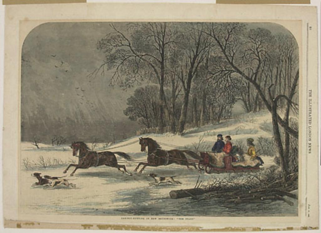 Le Départ pour la chasse au caribou au Nouveau-Brunswick, extrait du Illustrated London News