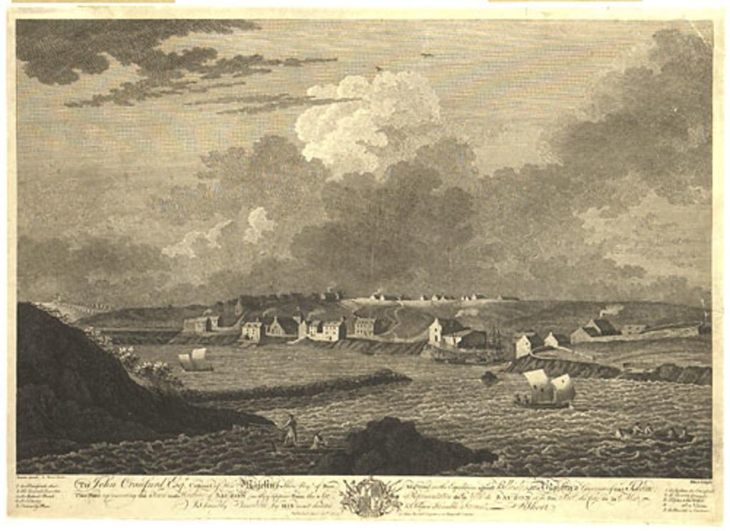 Représentation de la ville de Sauzon et de son port, du côté de la mer