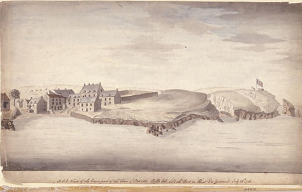 Vue sud-est de la Basse-Ville de Sauzon, Belle-Île et le fort sur la pointe du Cardinal