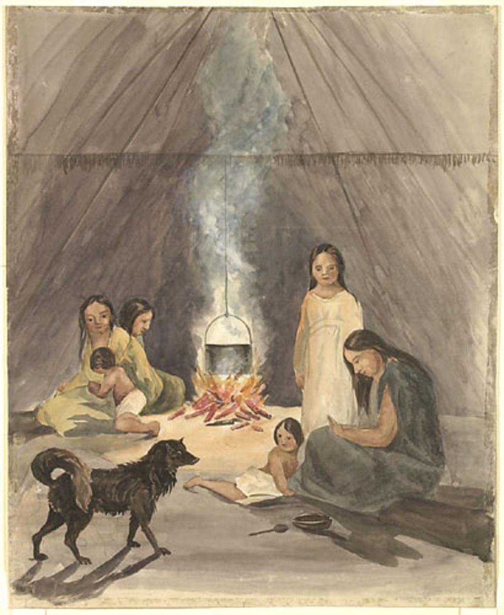 Famille indienne à l'intérieur d'une tente