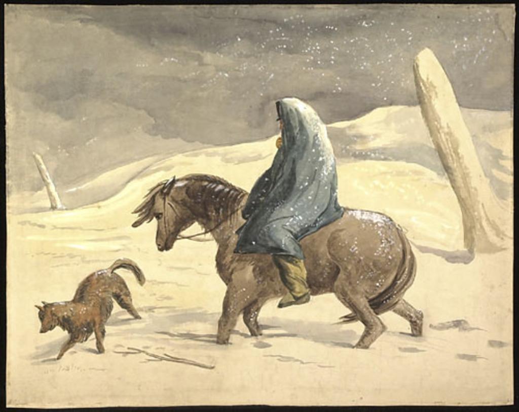 Indien à cheval dans une tempête d'hiver