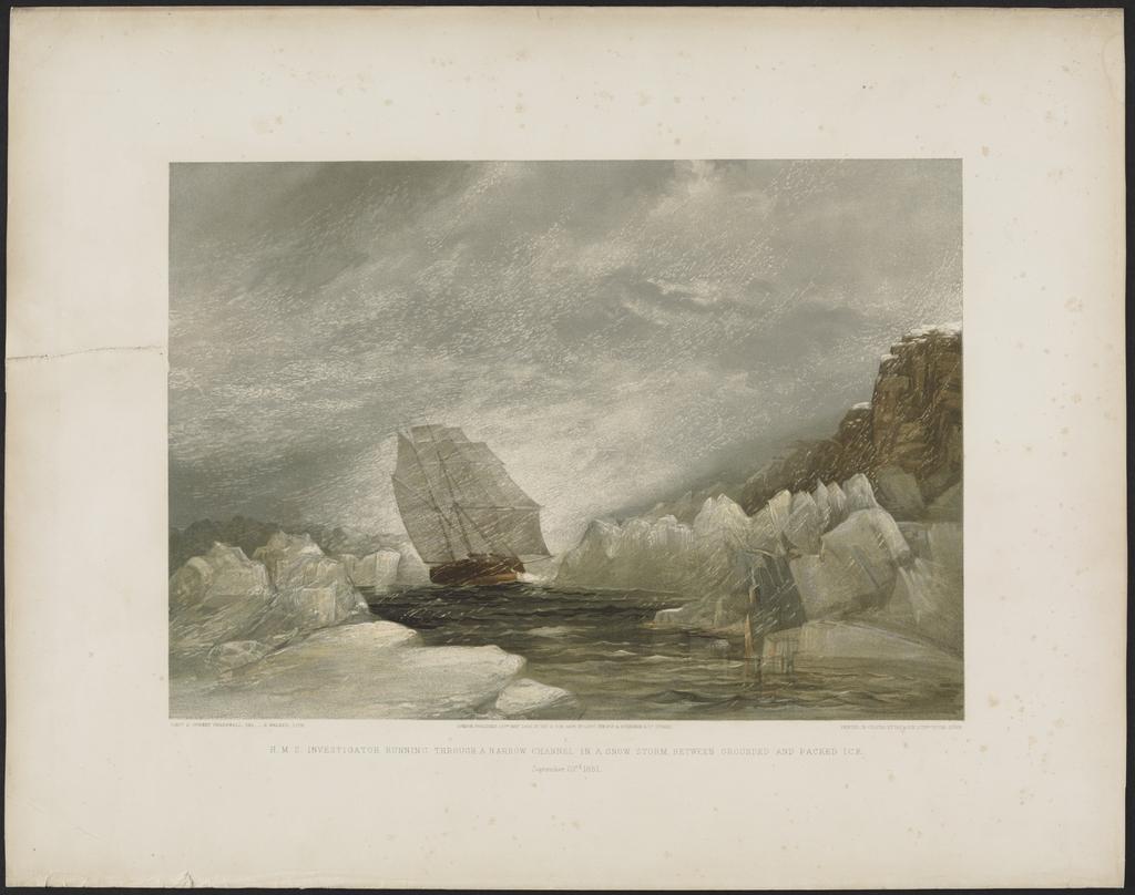 Le « H.M.S. Investigator » traversant un canal étroit entre les icebergs et la banquise, lors d'une tempête de neige le 23 septembre 1851, extrait de A Series of Eight Sketches