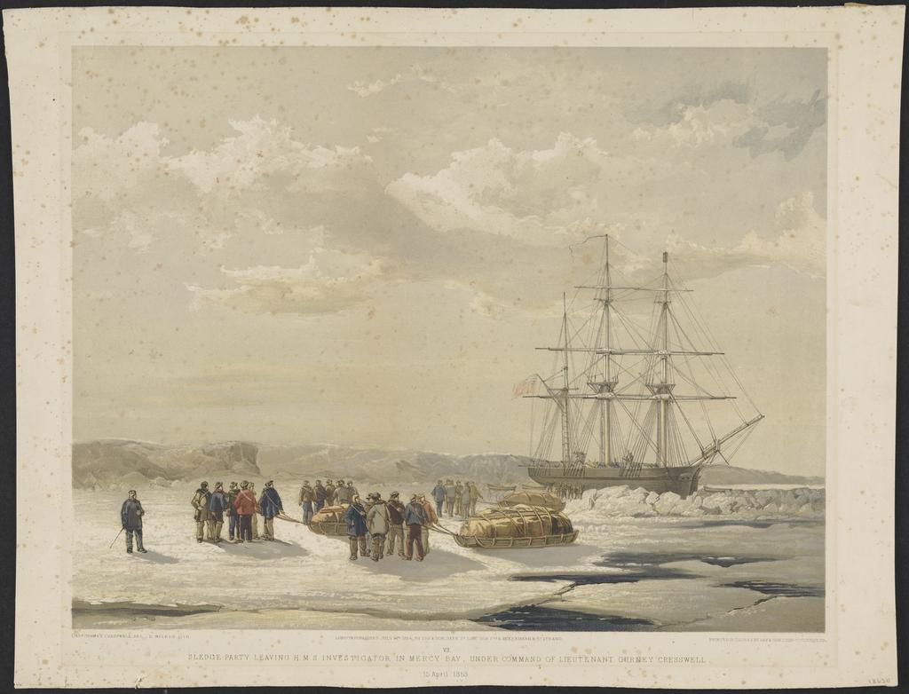 Des équipes de traîneaux quittant le « H.M.S. Investigator » dans la baie Mercy, sous le commandement du lieutenant Gurney Cresswell le 15 avril 1853, extrait de A Series of Eight Sketches