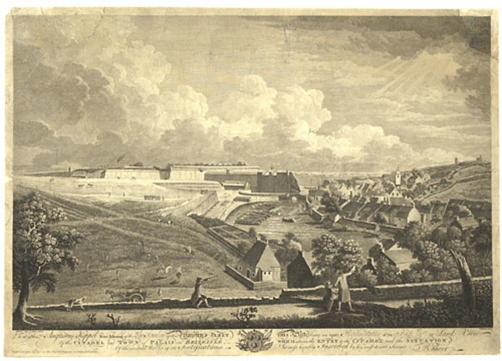 Partie sombre ou vue terrestre de la citadelle et de la ville de Le Palais sur l'île de Belle-Isle