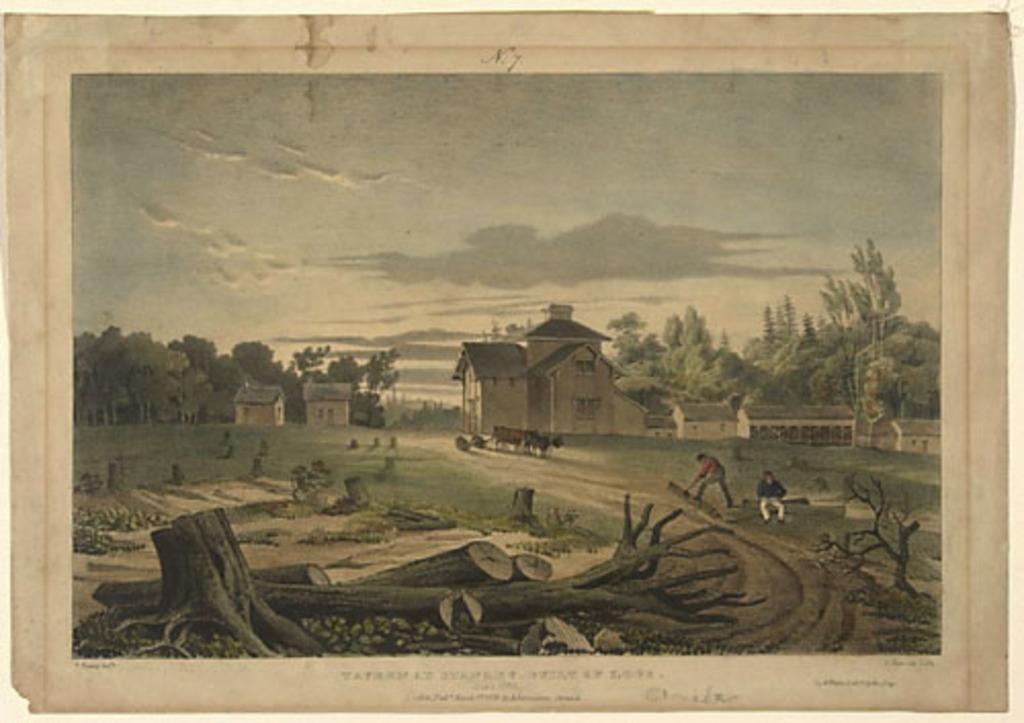 Auberge à Stanley faite de rondins, juin 1835