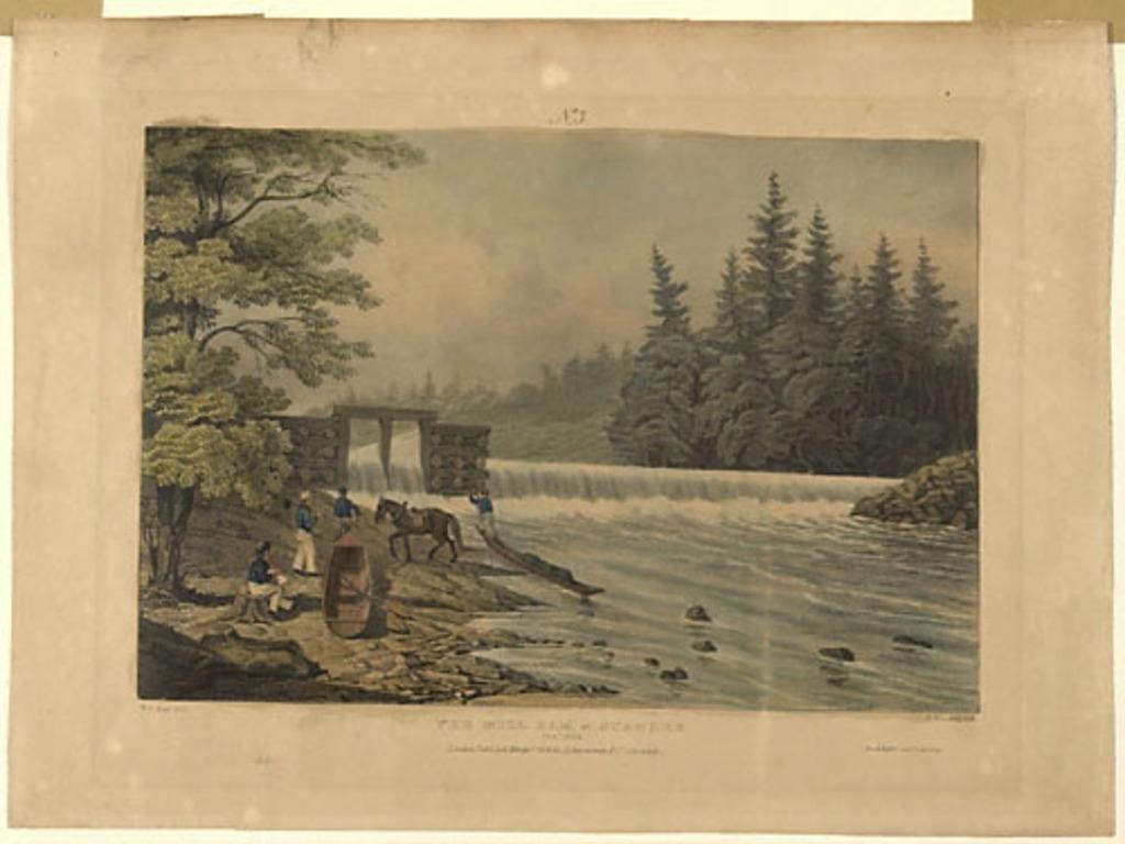 Le Barrage du moulin à Stanley, Nouveau-Brunswick, 1834