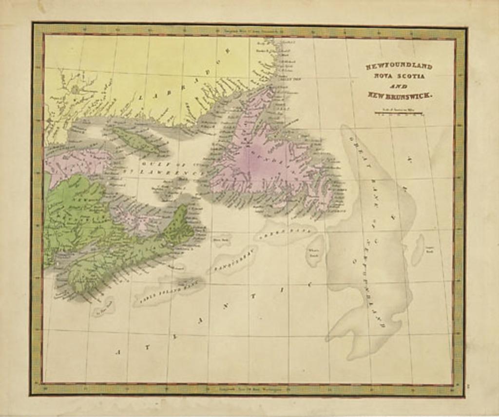 Terre-Neuve, Nouvelle-Écosse et Nouveau-Brunswick, extrait de A New Universal Atlas de Jeremiah Greenleaf