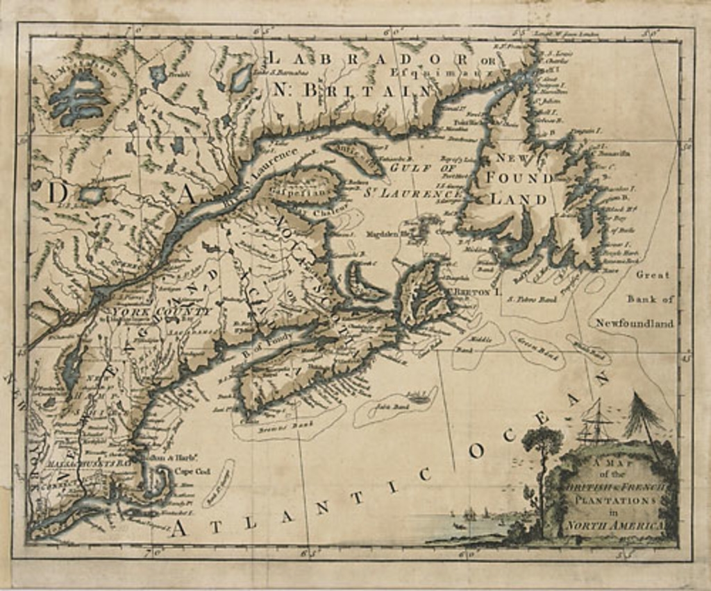 Carte de la présence britannique et française en Amérique du nord, extrait du London Magazine