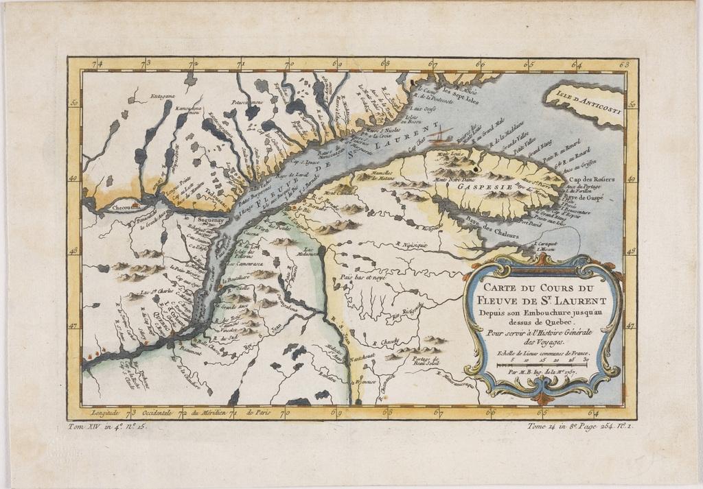 Carte du cours du fleuve Saint-Laurent depuis son embouchure jusqu'au dessus de Québec, extrait de l'Histoire générale des voyages de l'abbé Antoine François Prévost