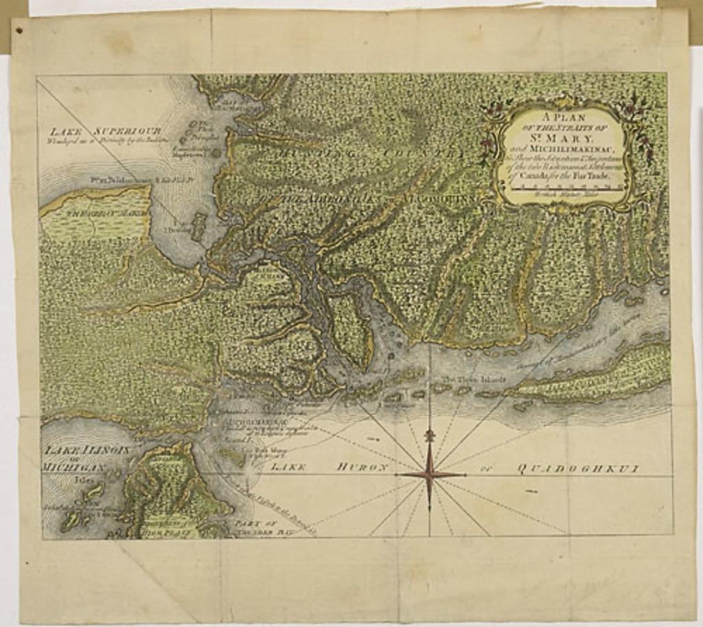 Plan des détroits de Sainte-Marie et Michilimakinac, extrait du London Magazine