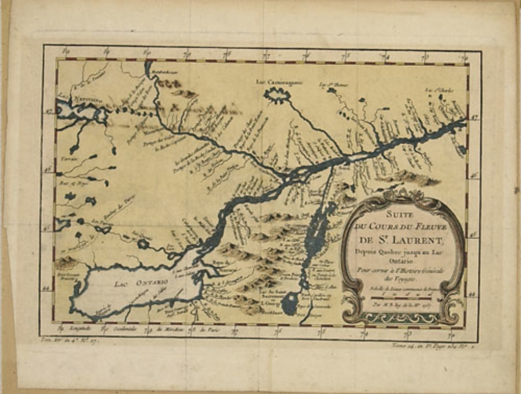Suite du cours du fleuve Saint-Laurent depuis Québec jusqu'au lac Ontario, extrait de l'Histoire générale des voyages de l'abbé Antoine François Prévost