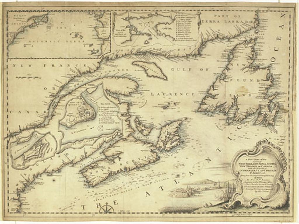 Une nouvelle carte de la côte de Nouvelle-Angleterre, de Nouvelle-Écosse, de la Nouvelle-France ou Canada, et des îles de Terre-Neuve, du Cap-Breton, de Saint-Jean, etc., extrait du Gentleman's Magazine