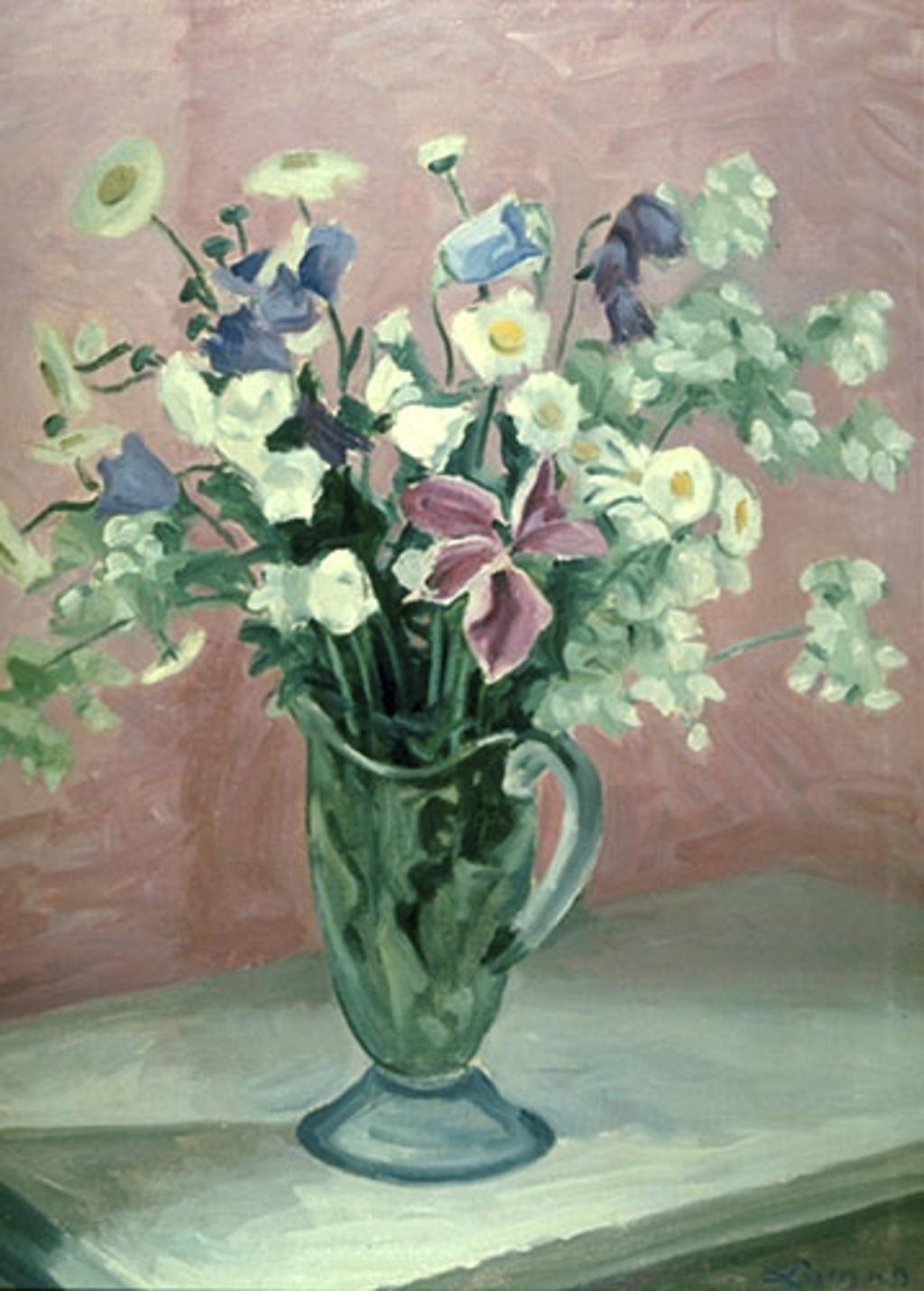 Fleurs dans un pot de verre