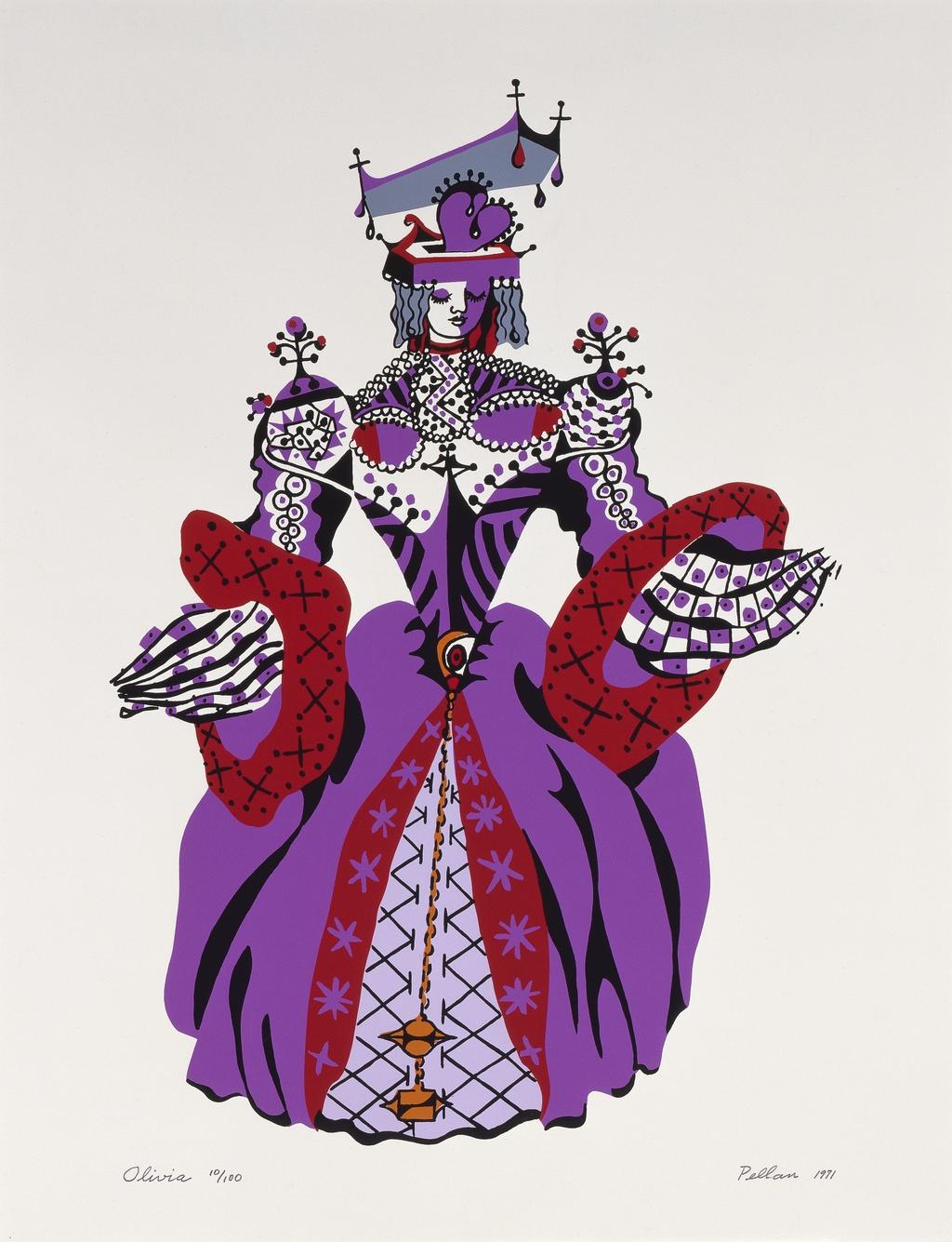 Olivia, du livre d'artiste «Sept Costumes et un décor pour ''La Nuit des Rois'' de Shakespeare»