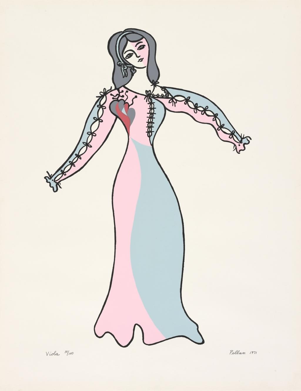 Viola, du livre d'artiste «Sept Costumes et un décor pour ''La Nuit des Rois'' de Shakespeare»