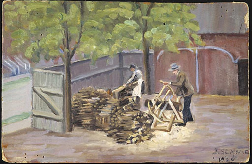 Pierre-Zotique Sainte-Marie sciant du bois