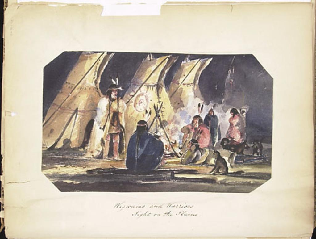 Wigwams et guerriers sur les plaines pendant la nuit, de l'album du capitaine Frederick Stevenson