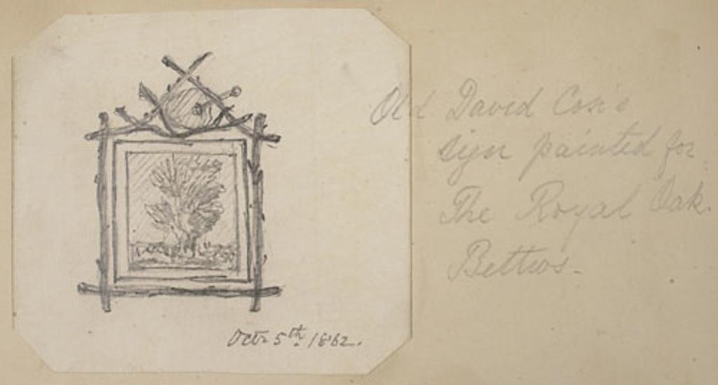 Enseigne du Old David Cok peinte pour le Royal Oak, de l'album du capitaine Frederick Stevenson