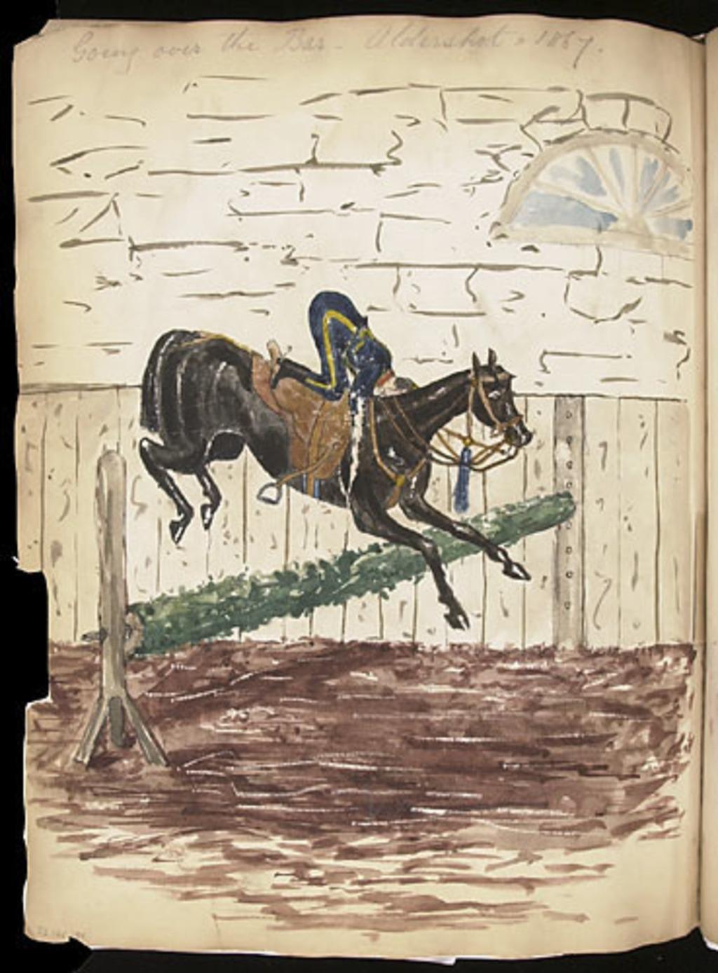 Saut d'une barrière à cheval, de l'album du capitaine Frederick Stevenson