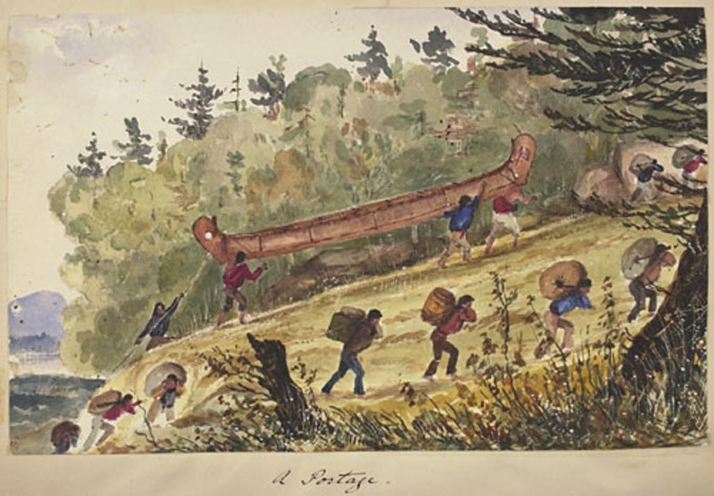 Un portage, de l'album du capitaine Frederick Stevenson