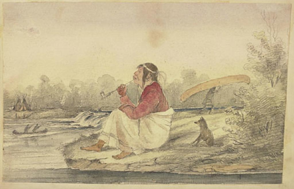 Indien fumant le calumet près d'un campement, de l'album du capitaine Frederick Stevenson