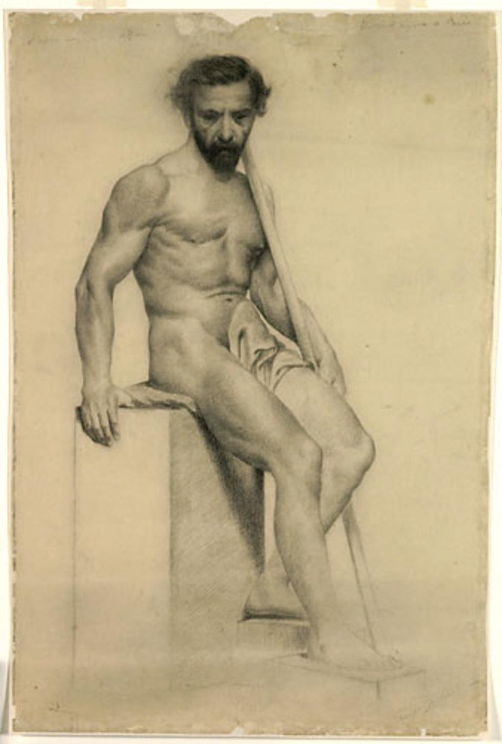 Nu masculin assis tenant un bâton