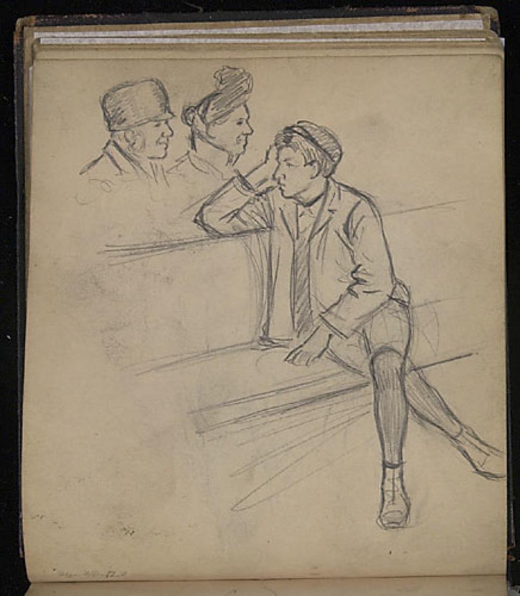Jeune Homme assis et études de têtes