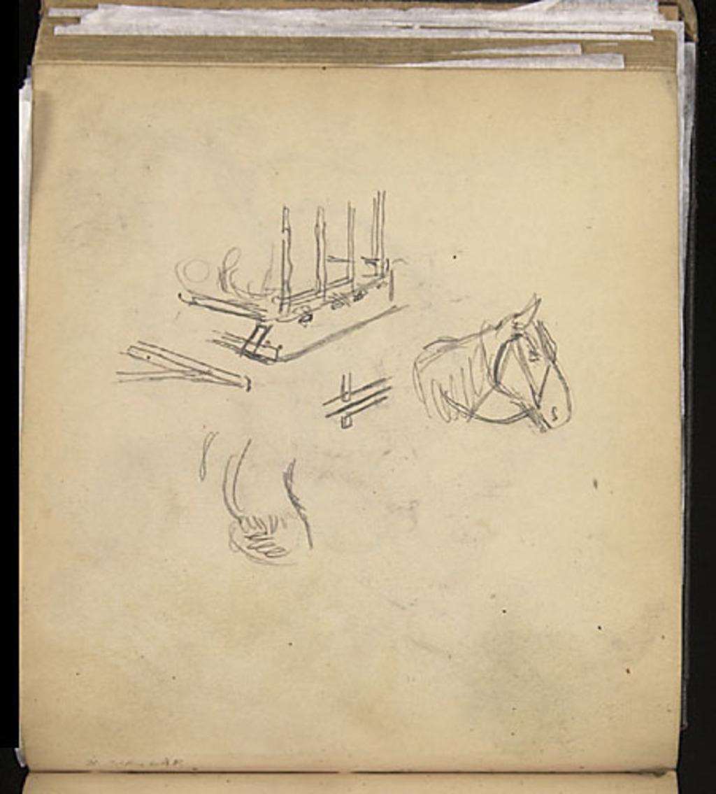 Étude d'un cheval et étude (traîneau à patins) pour « Le Mardi gras à la campagne » (1911)